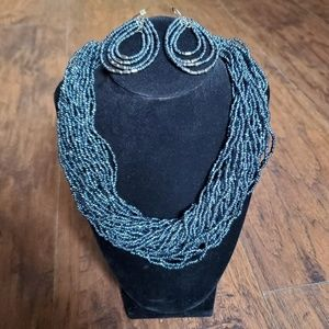 Metallic Beaded Necklace with Matching Earrings